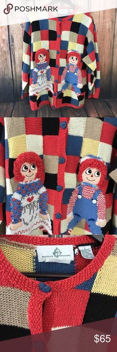 Design Options Raggedy Ann&Andy Sweater Cardigan L Great looking, unique, multi-color Raggedy Ann & Andy women's cardigan sweater   Button cardigan, long sleeves   Sweater made of 45% cotton, 55% ramie   Hand wash cold, lay flat to dry or dry clean. Design Options Sweaters Cardigans