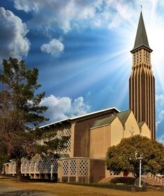 Dutch Reformed church of Kroonstad East, Free State, South Africa. By PhotoJdB Cathedral Basilica, Cathedral Church, Temples, Church Pictures, Free State, Church Architecture, Church Design, Old Churches, Church Building