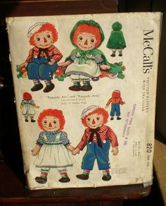 """Raggedy Ann and Andy Rare 1940 McCall Printed Pattern for 19"""" Doll"""