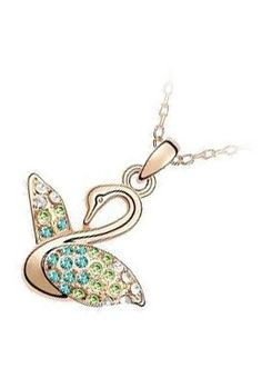 18K-Rose-Gold-Plated-Swan-Adorned-with-31-Multi-Color-Pave-Set-Swarovski-Crystal-Elements-Fashion-Pendant-Necklace-Represents-Grace-Beauty-0