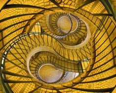 Amazing spiral stairs, swirl, yellow, surreal, architechture, a piece of art, trappe, photo.
