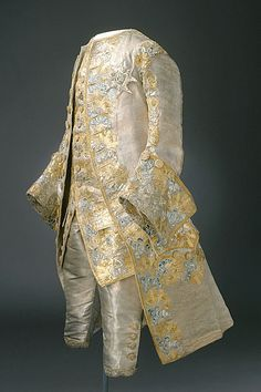 When grooms could be as beautifully dressed as their brides: embroidered silk wedding suit, 1766 From the Royal Armory and Hallwyl Museum. This suit could serve just as well at court.