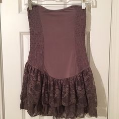 Free People tube top with lace This tank top is almost spandex material but thinner. I wear it under shorter tops so lace shows out the bottom. It's a size XS but would say it fits more as a small/medium. Free People Tops Tank Tops
