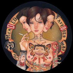 "johnjohnjesse.net → Artist & Illustrator:  John John Jesse  ""The 3 Headed Tattooed Waif""  Mixed Media  2004"