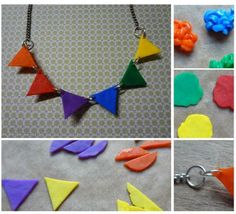 Bunting Necklace (Fused Perler Beads)