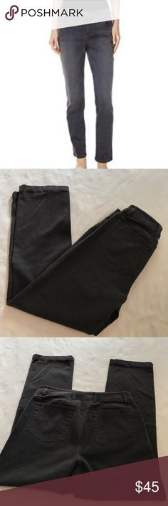 "Eileen Fisher Dark Gray Stretch Straight Jeans 38"" length 28"" inseam 14.5"" waistband. . Is a stretch material. Gray black jeans. Front and back pockets. Excellent condition. Bundle 2+ items for a discount Eileen Fisher Jeans Straight Leg"