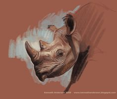 Character Design, Illustration and Concept Art by Kenneth Anderson Animal Paintings, Animal Drawings, Art Drawings, Rhino Tattoo, Fantasy Anime, Character Design Tutorial, Pastel Artwork, Illustration Art Drawing, Drawing Faces