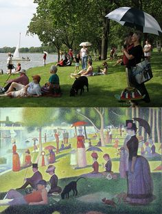recreation of Seurat's La Grande Jatte, done along the Rock River in Rockford! Well done AND local, heck yeah!