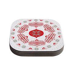 Kess InHouse Miranda Mol 'Snowjoy White' Red Coasters (Set of 4) (Snowjoy White) (Wood)