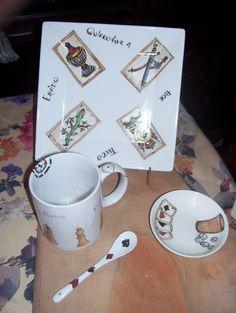 Juego de plato ,taza ,cuchara y platito ,naipes , ajedrez ,dominó pintado a mano by ArtesAna