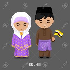 Illustration of Bruneians in national dress with a flag. Man and woman in traditional costume. vector art, clipart and stock vectors. Costumes Around The World, Banner Printing, Wooden Dolls, People Of The World, Flat Illustration, Brunei, Drawing For Kids, Image Photography, Paper Dolls