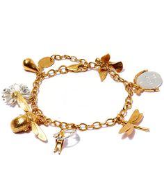 Alex Monroe Gold-Plated Greatest Hit Charm Bracelet Yellow Jewelry, I Love Jewelry, Bangle Bracelets, Bangles, Bracelet Charms, Alex Monroe, Dragonfly Jewelry, Plating, Charmed