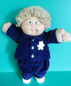 Cabbage Patch Boy Doll 1983 Wheat Long Loops Small Green Eyes Corduroy Outfit #Coleco #DollswithClothingAccessories