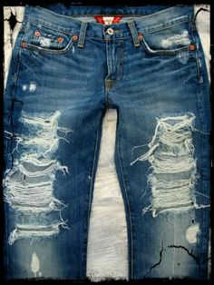 Custom Orders now...Destroyed Jeans for Men and Women. $85,00, via Etsy.