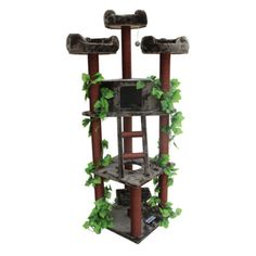 Kitty Mansions Redwood 75 in. Cat Tree - REDWOOD-GB