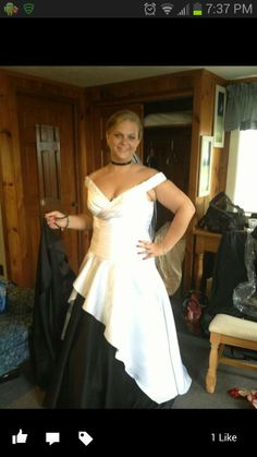 """Here's Jillian Wisniewski Sharp in her delightful two-tone wedding gown! She said: """"Here's my beautiful OuterInner wedding gown!"""" Love it? Click here: http://www.outerinner.com/sweep-brush-train-off-the-shoulder-off-the-shoulder-wedding-gowns-pd-05889-0.html"""