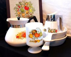 Vintage Corning & Gemco Spice Of Life 6 Piece Cookware Set. $28.00, via Etsy.