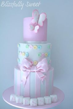 My client requested my butterflies cake design, with some changes to match the Christening theme. The invitations and the bombonie. Pretty Cakes, Cute Cakes, Beautiful Cakes, Amazing Cakes, Gateau Baby Shower, Baby Shower Cakes, Crazy Cakes, Fancy Cakes, Bolo Fack