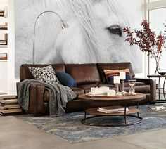 Sofas & Sectionals Pottery Barn Turner Square Arm Leather Sofa Crackled Walnut Color Full Grain Leather Down Blend Wrapped Cushions Removable Wooden Legs No Artificial Finishes Kiln Dried Wood Frames Soli Foam Core Seat Cushions Cozy Pottery Barn Sofa