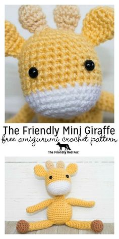 Free crochet giraffe pattern! The Friendly (mini) Giraffe is a smaller version of the original, he comes just under 6 inches tall! Perfect crochet baby shower gift or a quick crochet gift!
