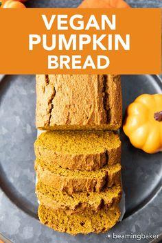 Easy Vegan Pumpkin Bread: this vegan pumpkin bread recipe is moist, deliciously dense Vegan Pumpkin Bread, Gluten Free Pumpkin, Pumpkin Recipes, Vegan Breakfast Recipes, Good Healthy Recipes, Vegan Recipes, Thanksgiving Recipes, Fall Recipes, Pumpkin Coffee Cakes