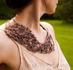 Wearable Fiber Art Freeform Crochet Necklace Crochet Neckwear Bib Neckpiece Fiber Jewelry Statement Jewelry OOAK Fiber Art taupe - Wild Rose on Etsy, $118.00