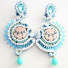 Ethnic earrings representing the traditional Sardinian peacocks. White And Light blue soutache earrings for the coming spring, colorful And Long earrings whit unique lava stone Black Earrings, Boho Earrings, Chandelier Earrings, Statement Earrings, Fashion Earrings, Earrings Handmade, Stud Earrings, Soutache Bracelet, Soutache Jewelry