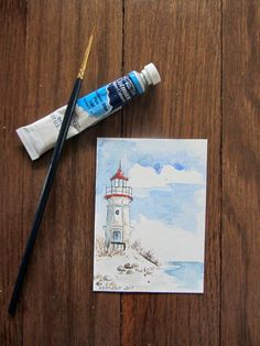 Great Lake Lighthouse Watercolor ACEO Artist by KetturahsArt