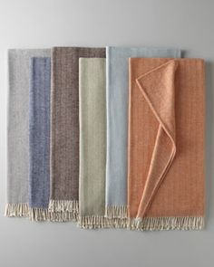 H6NR5 SFERRA Brushed Cotton Herringbone-Weave Throw