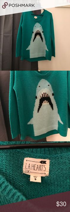 LA Hearts Shark Sweater Shark Sweater by LA HEARTS! I get so many compliments when wearing this sweater.  So soft and oversized. La Hearts Sweaters