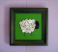 This button sheep wall hanging from Fowl Single File is just too cute. I love the white buttons against the green background. This would be ...