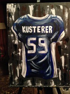 ABOUT THIS ART: This is a made to order painting. personalized jersey acrylic painting on stretched canvas signed by the artist, Candice Griffy. Choose your own colors, name and number for this unique Canvas Signs, Canvas Art, Canvas Paintings, Canvas Quotes, Canvas Ideas, Boyfriend Canvas, Boyfriend Ideas, Football Paintings, Football Canvas