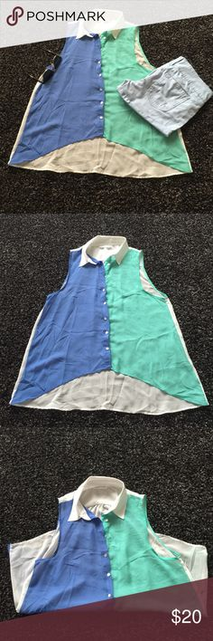 Three colors shirt. İn excellent condition. White, blue and green. Size M Skirts