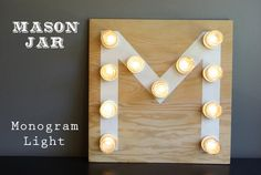 A  Mason Jar Monogram light is the perfect playful accent to the interior of any home via Oleander and Palm!