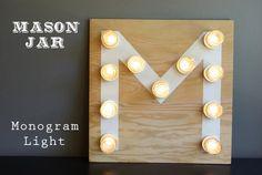Mason Jar Monogram Light