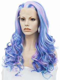 Imstyle Deep Wave 24 inches piano bule purple pink Synthetic Lace Front Wig for Drag queen cosplay