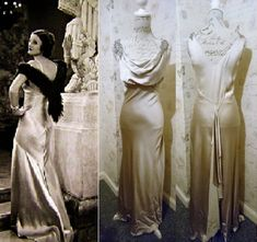 1930s Style Wedding Dress Cowl Neck Dress Bias Cut Dress Satin Dress Vintage Wedding Dress Old Hollywood Dress Ball Gown Prom Dress by STILLCHIC on Etsy