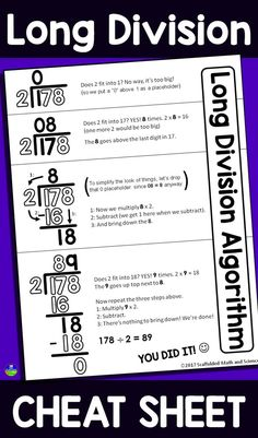 Division Cheat Sheet A teacher recently asked if I could make a cheat sheet for help with how to do long division. I had made a reference for long division with decimals as part of my Grade Math Word Wall, but her student was putting up a wall between Division Algorithm, Math Division, 3rd Grade Division, Division Anchor Chart, Decimal Division, Math Strategies, Long Division Strategies, Long Division Activities, Teaching Long Division