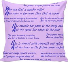 Proverbs 31 Wife Inspirational Bible Quotes Lavender and Royal Blue Custom Couch Pillow Make a powerful statement with this subtle throw pillow.   Great as a wedding or anniversary gift for her, it brings high praise and offers a great example to imitiate.   For more products iwth this design, visit my store, Bipolar Mom Designs, here https://www.rageon.com/products/proverbs-31-wife-inspirational-bible-quotes-lavender-and-royal-blue-custom-couch-pillow?aff=HZHK on RageOn!