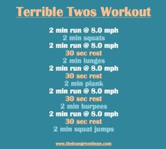 Terrible Twos Treadmill and Bodyweight Workout