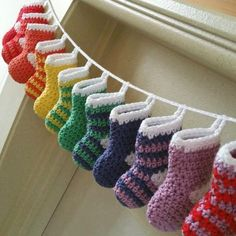 Crochet stocking advent calendar – free pattern You are in the right place about crochet christmas stocking pattern Here we offer you the most beautiful. Crochet Christmas Decorations, Crochet Decoration, Christmas Diy, Christmas Calendar, Diy Crochet Ornaments, Crochet Garland, Christmas Tables, Nordic Christmas, Christmas Things