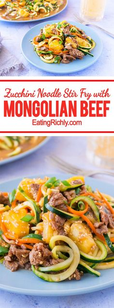 This one pot zucchini noodle stir fry combines flavorful Mongolian beef sauce, & tangy pineapple, with zoodles to make a healthy, easy, complete meal. From EatingRichly.com
