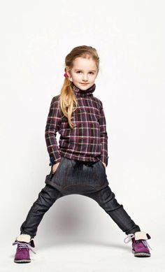 Checked top and funky baggy  jeans by ModiDu.    http://diddiu.com/collections/girls/products/modi-du-tartan-top