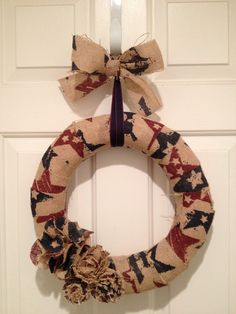 Burlap Red and Blue Star Pattern Wreath by PolkadotsOriginals