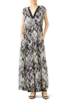 VINCE. Basketweave Print Maxi Beach Vacation Packing List, Rent The Runway, Basket Weaving, Chiffon, Neckline, Summer Dresses, Black And White, Hippie Style, Prints