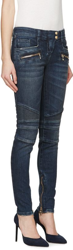 Balmain Blue Skinny Biker Jeans Without the High Heels Fashion 101, Denim Fashion, Latest Fashion For Women, Skinny Biker Jeans, Balmain Clothing, Lifestyle Trends, Best Jeans, Jeans Style, Menswear