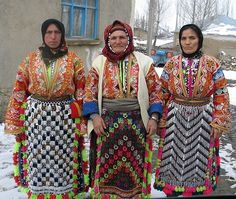 Traditional festive/ceremonial costumes of Yıldızeli (45 km west of Sivas).  Clothing style: 2010s.  Ethnic group: Alevi Türkmen.