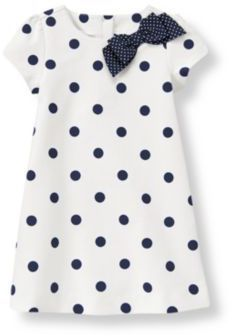 ShopStyle: Janie and Jack Bow Dot Ponte Dress -- navy tights, and navy suede shoes Little Dresses, Little Girl Dresses, Girls Dresses, Little Girl Fashion, Kids Fashion, Fashion Design, My Baby Girl, Baby Sewing, Kind Mode