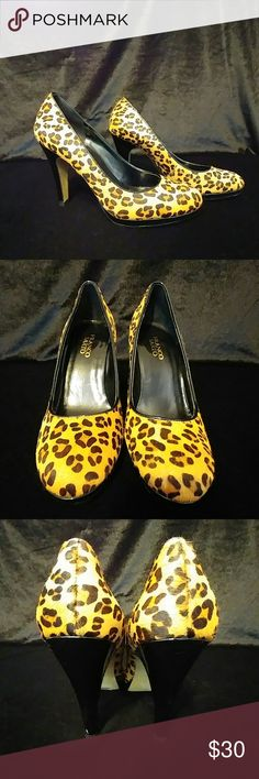 Sexy Franco Sarto leopard pumps Excellent condition.  Leather. Almost no wear to heel caps. Very minor faint scrubs but nothing that can be seen when wearing... really you have to turn it to get the light to hit it a certain way to even see it but i list every tiny flaw. Franco Sarto Shoes Heels