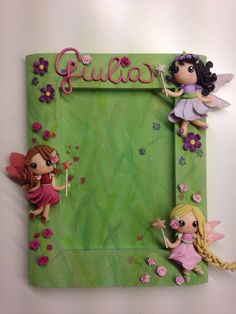 """""""Flowers Fairies"""" frame - handmade with fimo Polymer Clay Recipe, Fimo Clay, Polymer Clay Projects, Polymer Clay Creations, Polymer Clay Art, Clay Crafts, Diy And Crafts, Cold Porcelain Flowers, Porcelain Clay"""